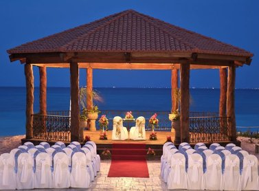 Beautiful gazebo in evening